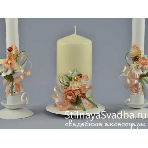 Свадебные свечи Персик. Фото 000.