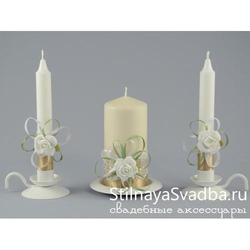 Фото. Свечи с белыми розами
