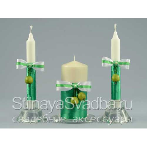 Фото. Свадебные свечи в яблочном стиле