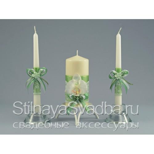 Свадебные свечи Лайм с орхидеями фото