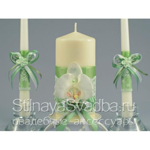 Свадебные свечи Лайм с орхидеями. Фото 000.