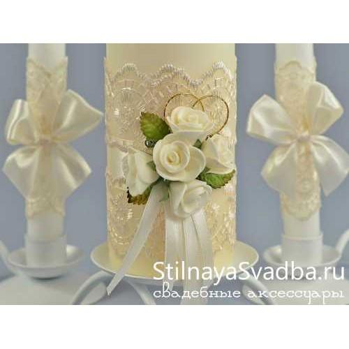 Свадебные свечи Крем-брюле. Фото 000.