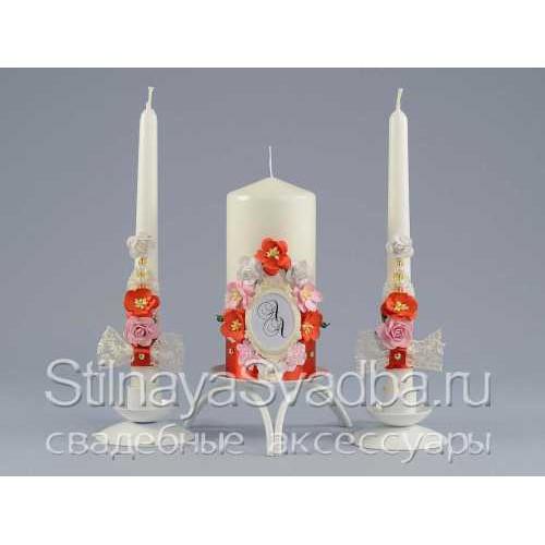 Комплект свечей  с монограммой молодожёнов фото