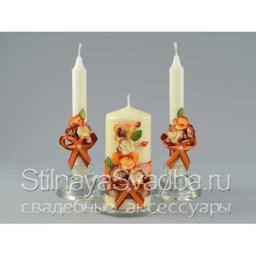Комплект свечей для осенней свадьбы Краски осени фото
