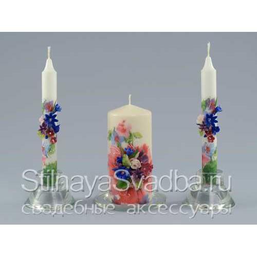 Свадебные свечи в лилово-сине-розовые тонах фото