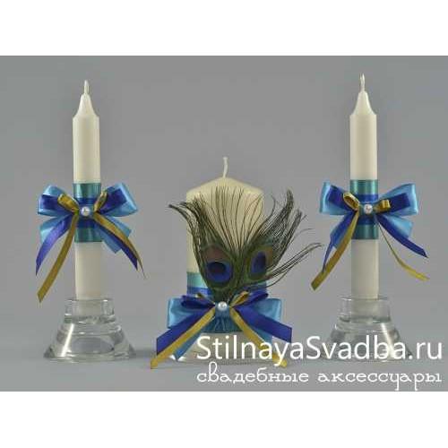 Комплект свечей Сказочный павлин фото