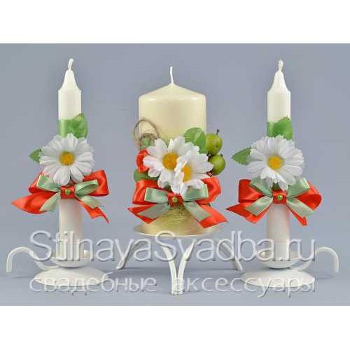 Свадебные свечи яблочно-ромашковые фото