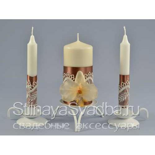 Комплект свечей Мокко, с орхидеями фото
