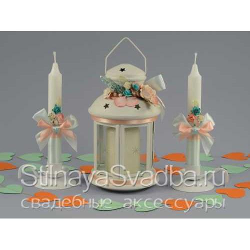 Комплект свечей с подсвечником -фонариком фото