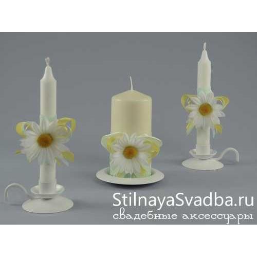 """Комплект свечей """"Ромашки"""". Фото 000."""