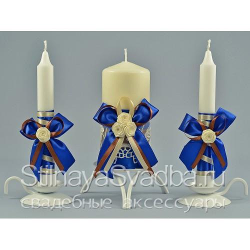 Фото. Свадебные свечи в сине-шоколадной гамме
