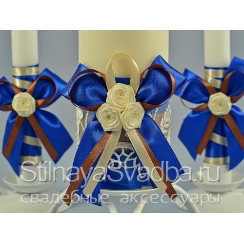 Свадебные свечи в сине-шоколадной гамме. Фото 000.
