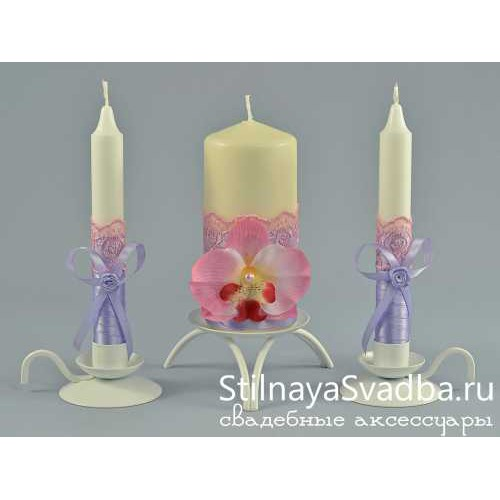 Фото. Свадебные свечи Нежность орхидеи