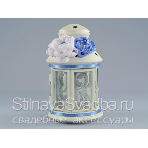 Фото. Подсвечник- фонарик в небесно-голубом цвете