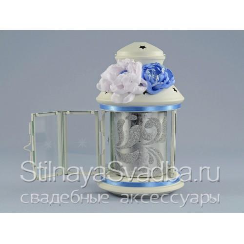 Подсвечник- фонарик в небесно-голубом цвете. Фото 000.