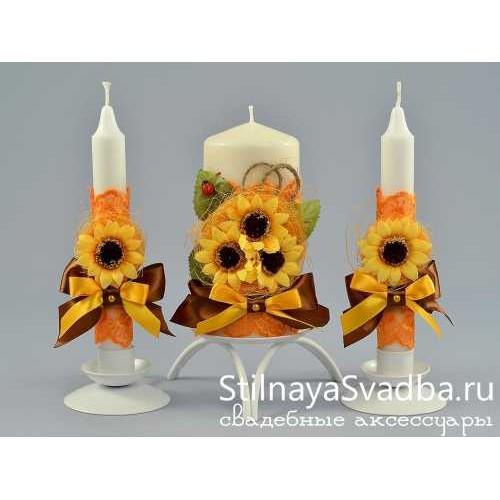 Фото. Свадебные свечи с подсолнухами