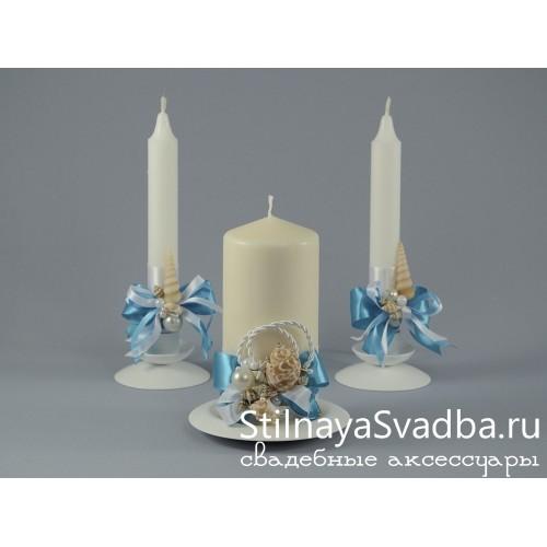 Свечи в морском стиле, Голубая лагуна. Фото 000.