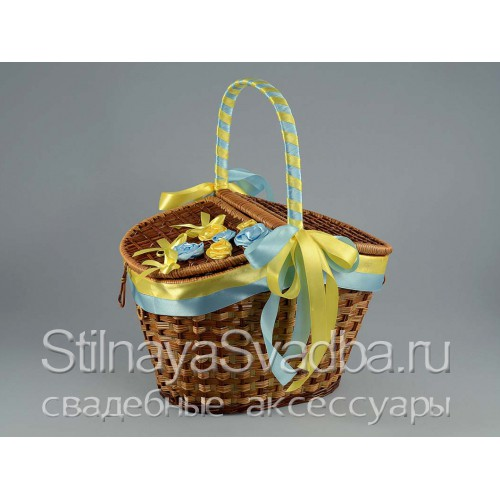 Корзина для пикника жёлто-голубая фото