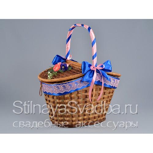 Фото. Корзина для пикника в сине - розовом цвете