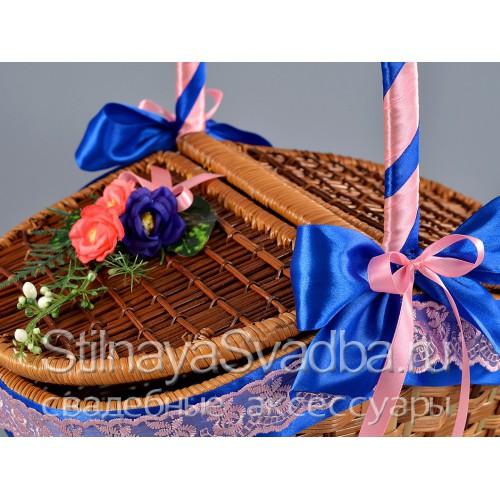 Корзина для пикника в сине - розовом цвете. Фото 000.
