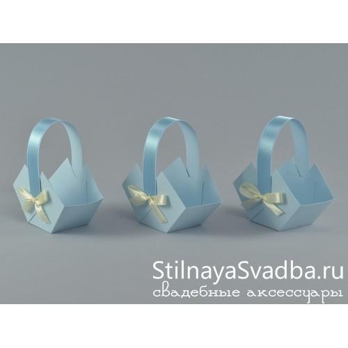 Корзиночки голубые с бантом фото