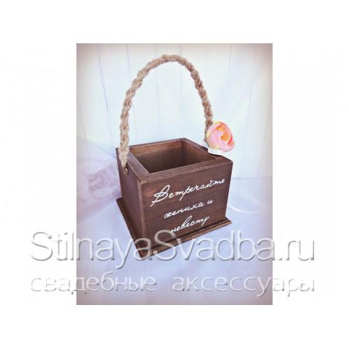 Деревянная корзинка с плетёной ручкой фото