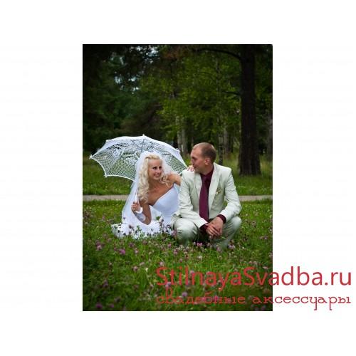 Кружевной зонт ручной вязки. Фото 000.
