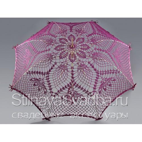 Кружевной фиолетовый зонт ручной вязки фото