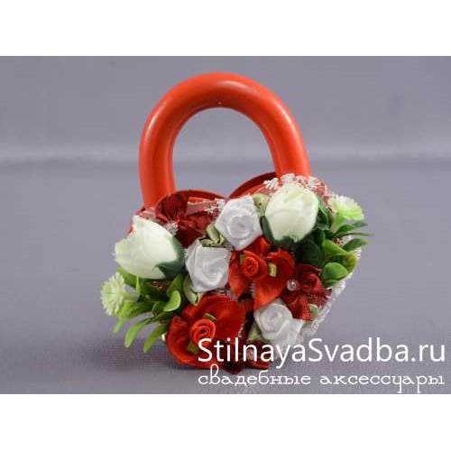 Замочек с цветами, красный фото
