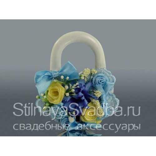 Замок-сердце жёлто-голубой фото