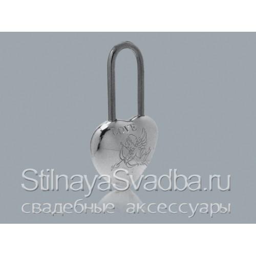 Фото. Объёмный серебряный замочек с купидоном и надписью LOVE