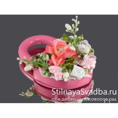 Замочек с цветами, розовый. Фото 000.