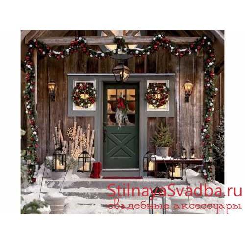 Новогодний декор фасада дома фото