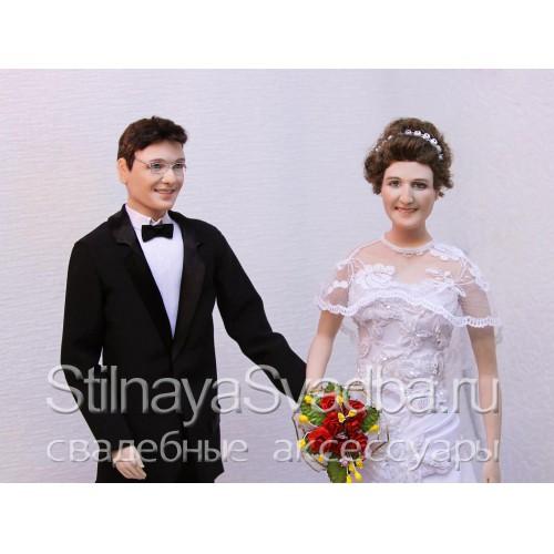 Портретные куклы молодожёнов в подарок на свадьбу. Фото 000.
