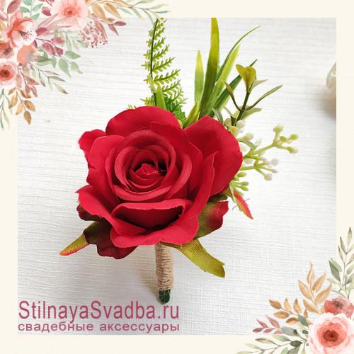 Бутоньерка с крупной розой  для друзей жениха  красный фото