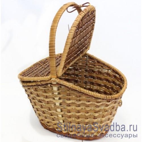 Корзина для пикника плетеная с крышкой купить фото