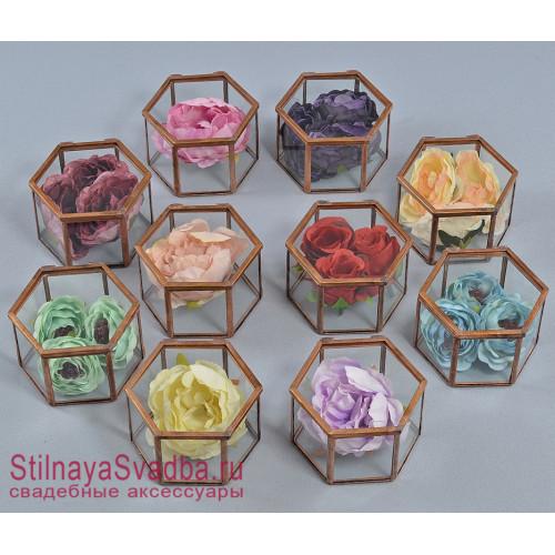Стеклянные шкатулки шестигранники в  медном цвете фото