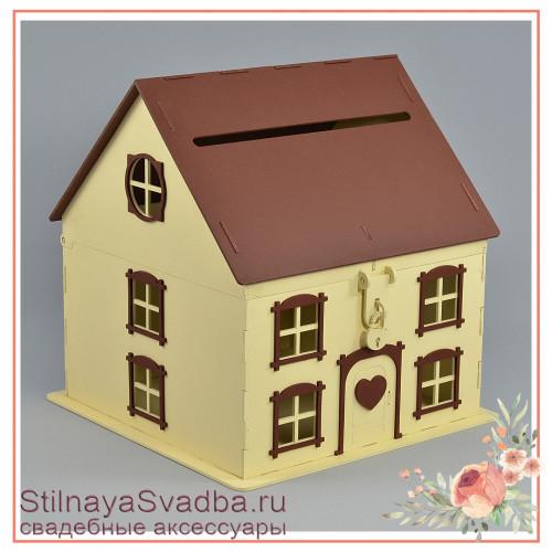 Дом бежевый с коричневой крышей фото