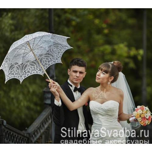 Свадебный зонт белый из хлопкового кружева фото