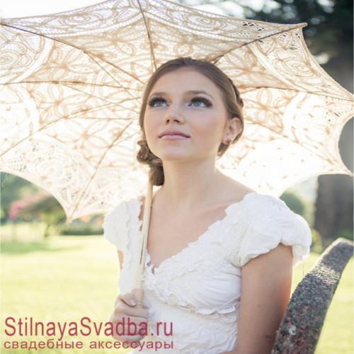 Нежнейший свадебный зонт айвори   фото