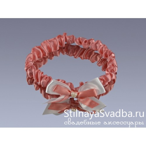 Подвязка узкая, розовая фото