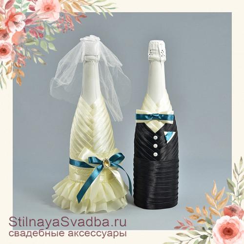 Свадебное шампанское с изумрудным  цветовым акцентом фото