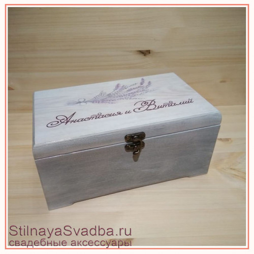 Шкатулка для денег бело- сиреневая с веточкой лаванды фото