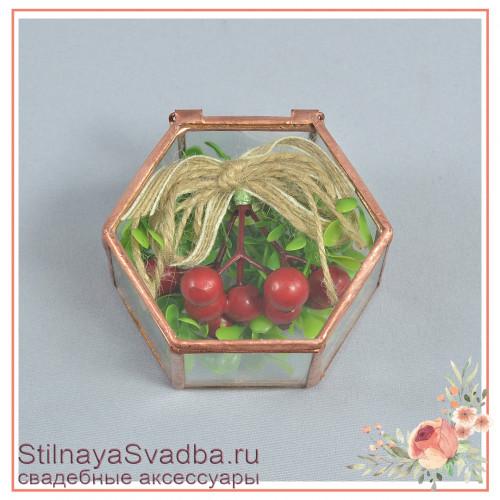Стеклянная шкатулка в бронзе с красными ягодками фото