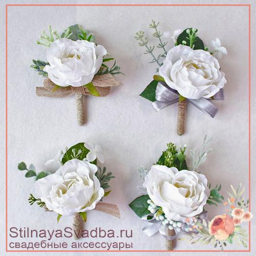Бутоньерки с пионовидными  розочками  белые фото