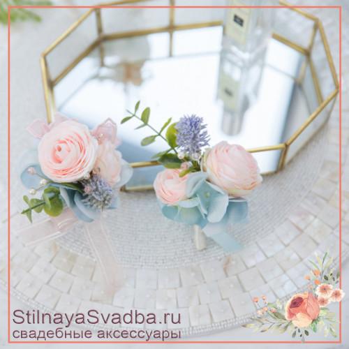 Бутоньерки для жениха, свидетеля или друзей жениха в розовой гамме фото