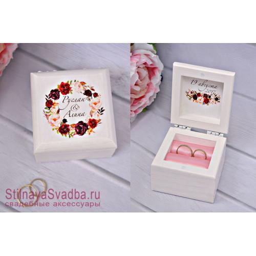 Свадебная шкатулка для колец, Марсала фото