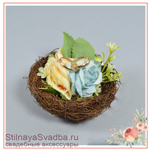 Гнёздышко для колец миниатюрное  с голубыми цветочками фото