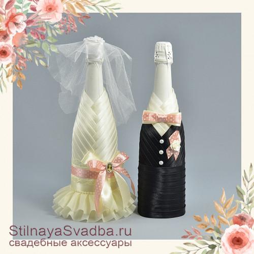 Свадебное шампанское  с розовым цветовым акцентом фото