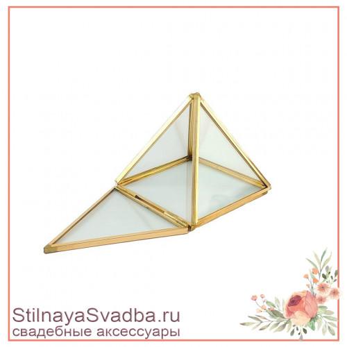 Стеклянная шкатулка-пирамида без декора фото